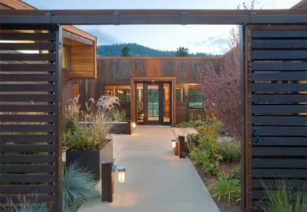 concrete front walkway landscaping idea with finer finish