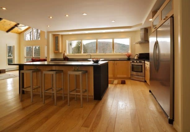 raised ranch kitchen remodel with long window