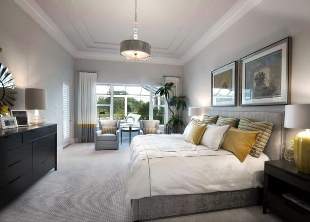 beige carpet color goes with light gray wall for large contemporary bedroom