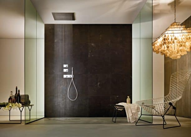 large and tall shower walls from solid surface material