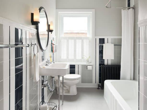 narrow eclectic bathroom design with benjamin moore gray owl OC-52 paint color