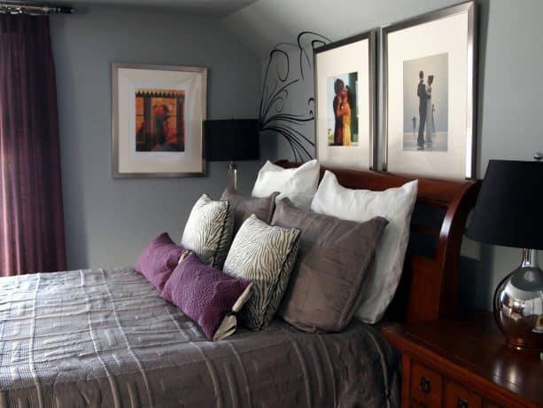 purple and grey bedroom for men
