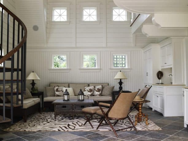 beautiful living room with beadboard walls