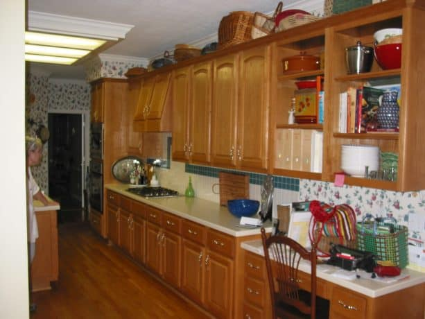 visual of the outdated honey oak cabinets