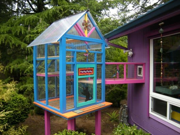 a outdoor cat enclosure connected to the wall is made to have a colorful design