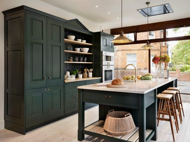 dark green cabinets in a traditional kitchen