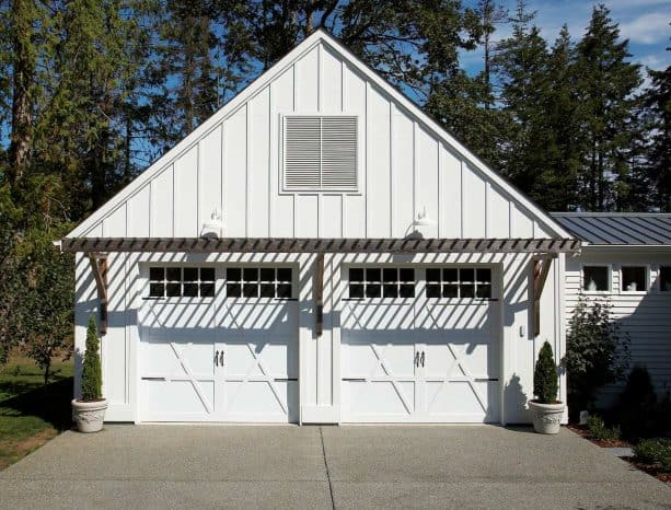 eclectic attached metal white garage with apartment