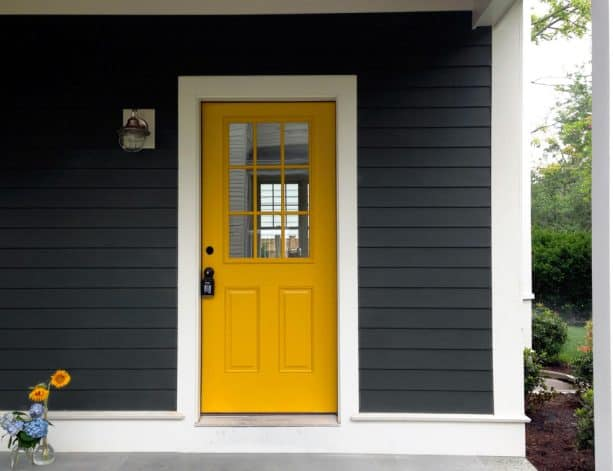 dark grey paint, white trim, and yellow tone looks nice together
