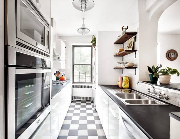black and white porcelain tile in a bright transitional kitchen