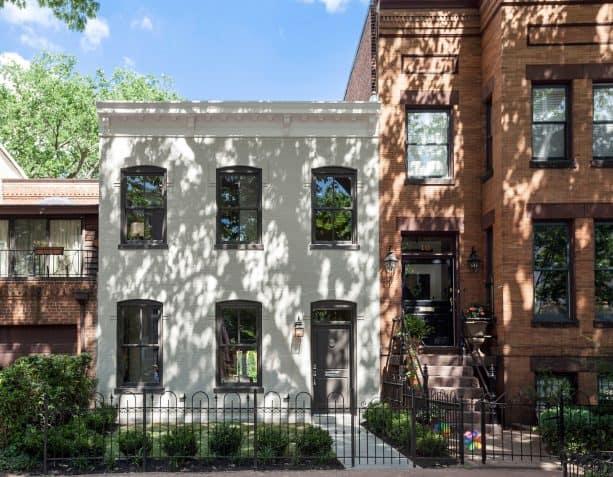 soot grey trim as a match for a white brick home exterior