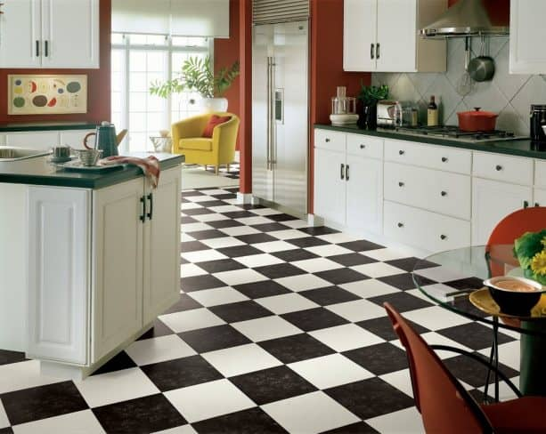 the use of black and white vinyl sheet for kitchen flooring