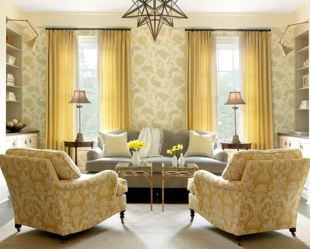 mustard and grey living room with busy patterns