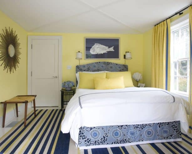 yellow walls with various blue shades makes a room marvelously eclectic