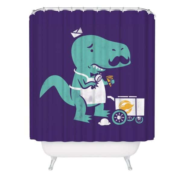 purple and green dinosaur shower curtain