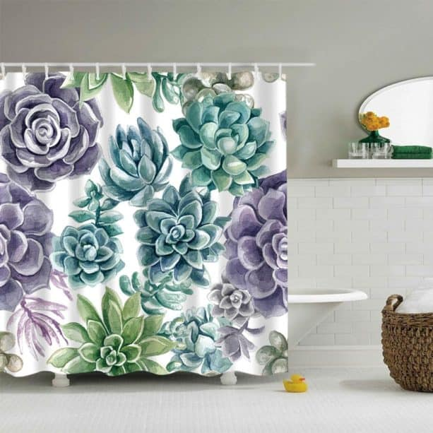 purple and green succulent shower curtain