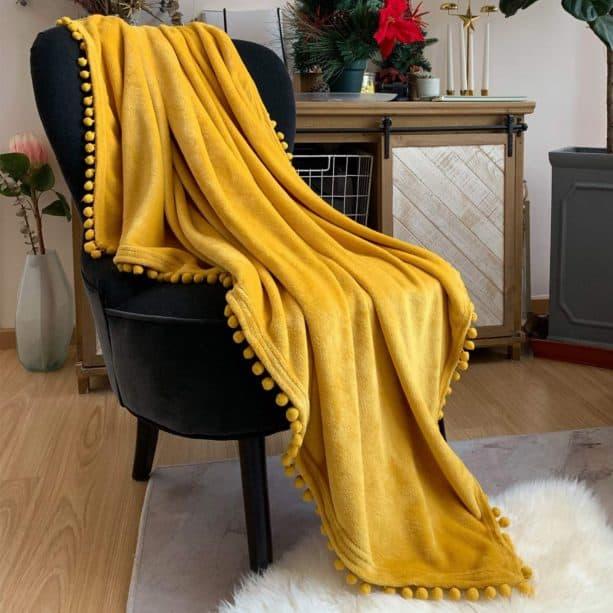 LOMAO mustard yellow pompom throw blanket for bedroom