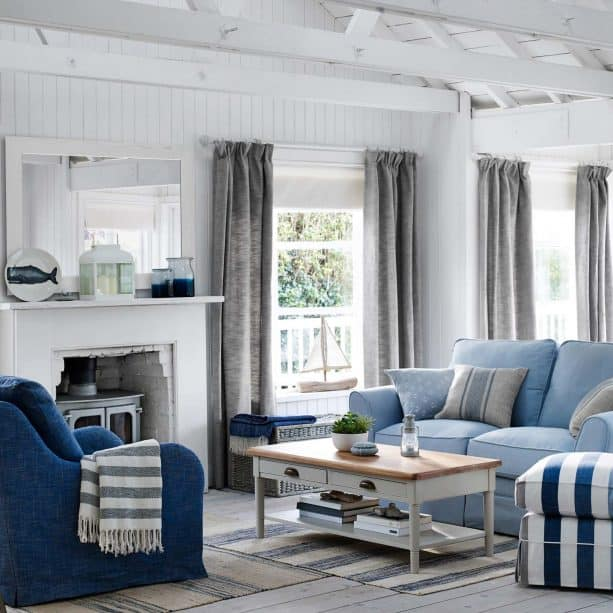 grey and blue living room with wooden features