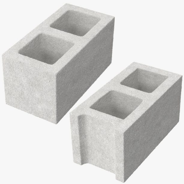 two different styles of standard cinder block