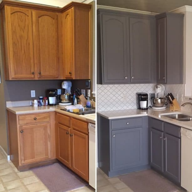 honey oak cabinets get a new appearance with grey paint