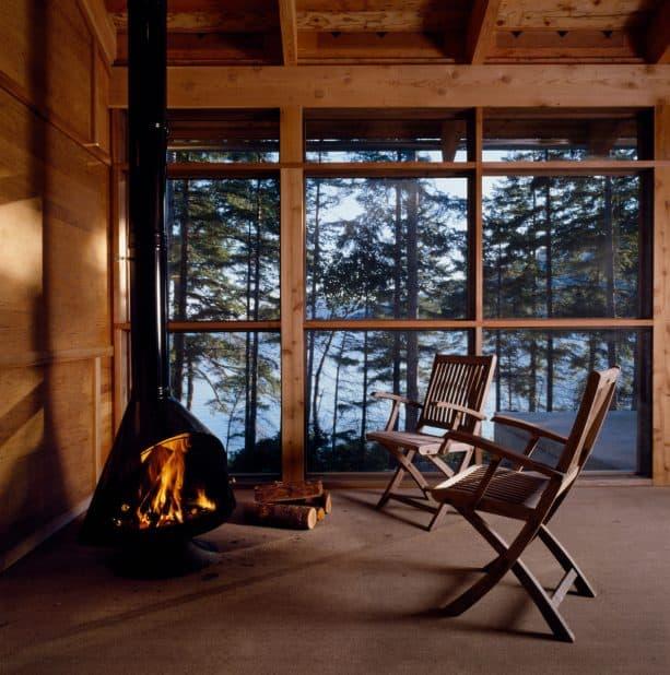 Malm Zircon 34 in a small contemporary rustic screened porch