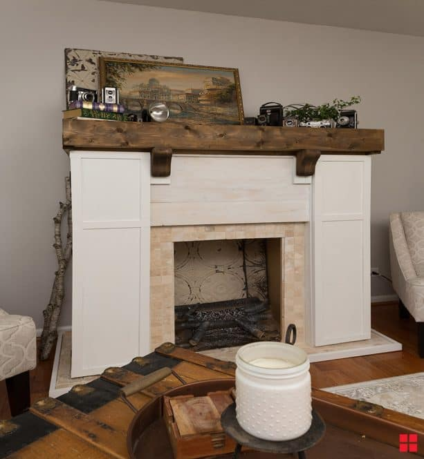 fireplace mantel stained with Wood Accelerator