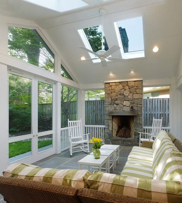 skylights and fireplace features to use the screened porch in all seasons