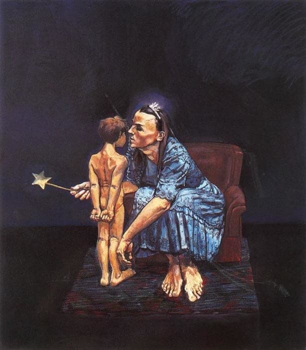 The Blue Fairy Whispers to Pinocchio by Paula Rego