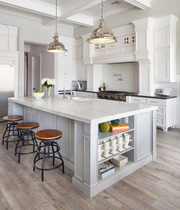 traditional kitchen with white kitchen cabinets and light gray wall paint color