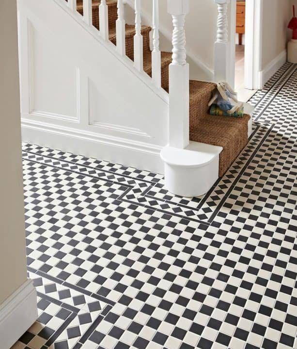 black and white checkered mosaic porcelain floor