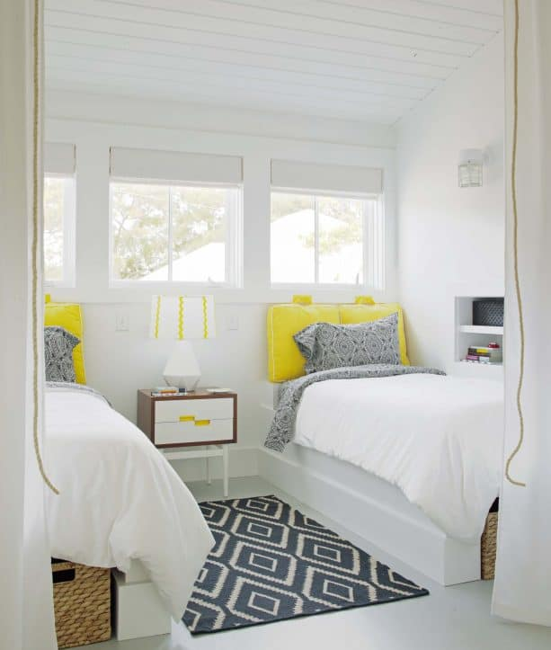 transitional bedroom with Sherwin Williams Extra White 7006 wall and trim paint color