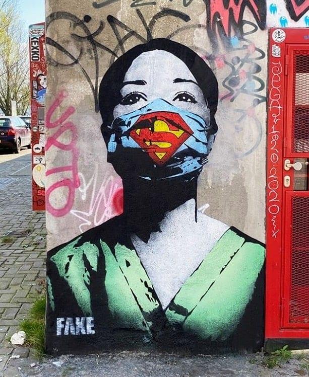 FAKE, Super Nurse! mural by street artist FAKE