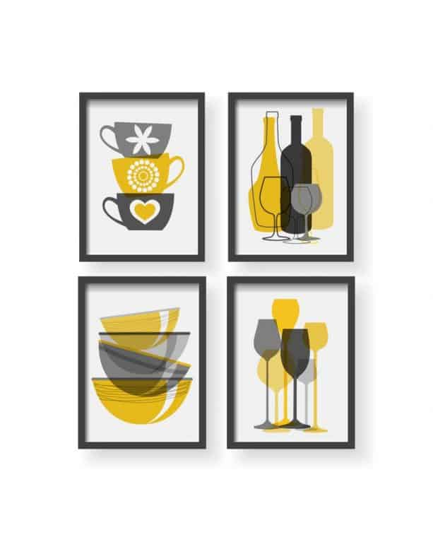Black Pelican yellow and grey kitchen posters