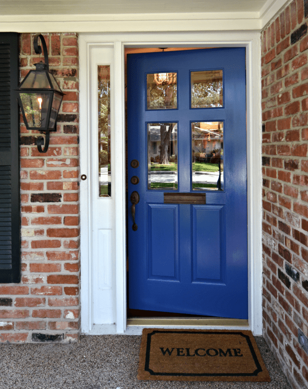 Benjamin Moore Blue Suede Shoes front door with white sidelight