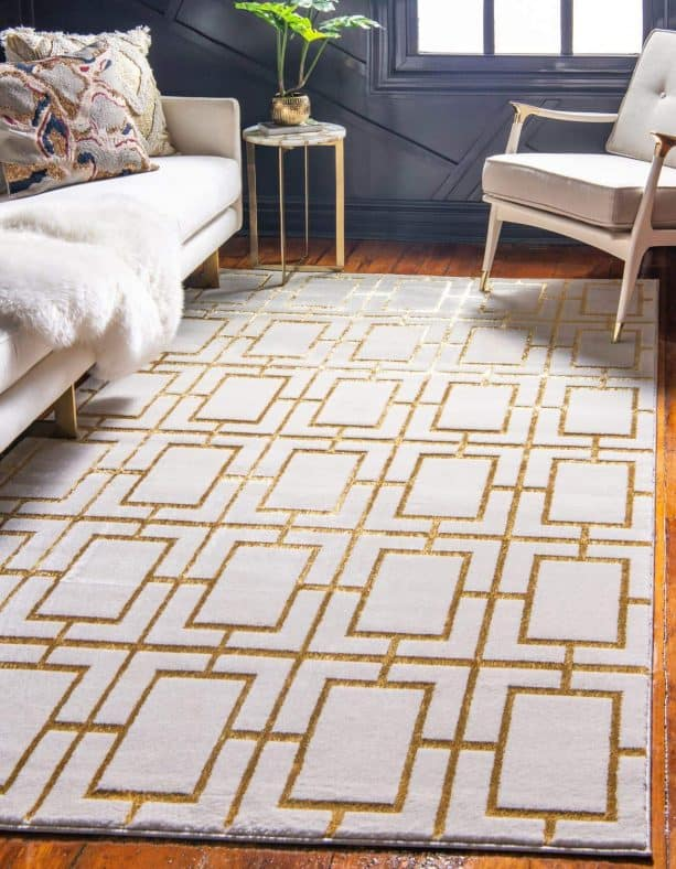 Unique Loom textured geometric trellis from the Marilyn Monroe Glam Collection