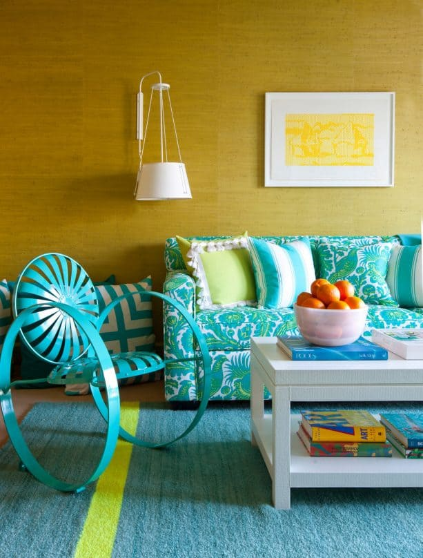 mustard yellow and turquoise eclectic living room theme