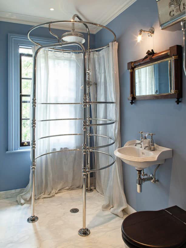 gorgeous victorian marble floor master bathroom with blue walls and without tub