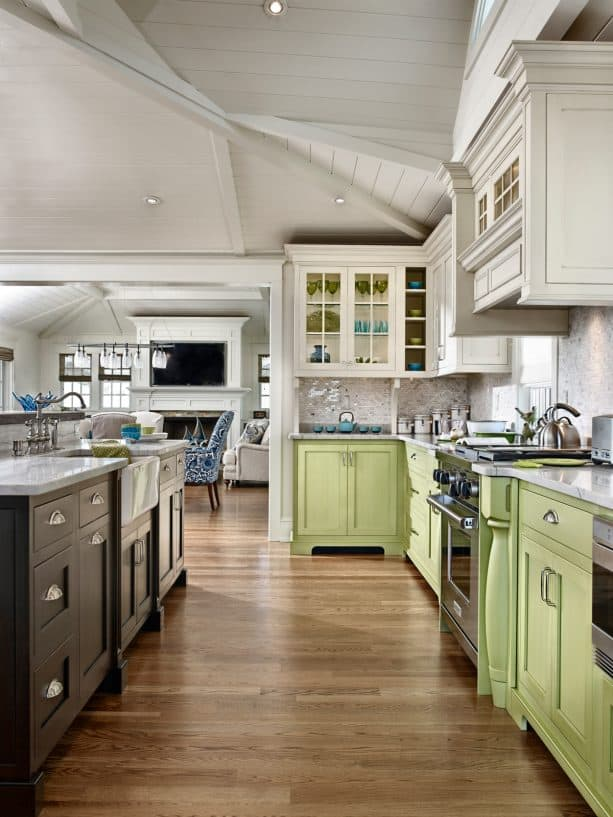 chartreuse green cabinets in a contemporary kitchen