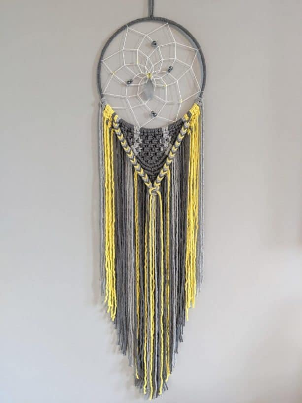 large dreamcatcher in grey and yellow color by Aprils Room