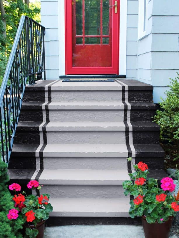 front concrete steps after getting a makeover with stripe-pattern paint