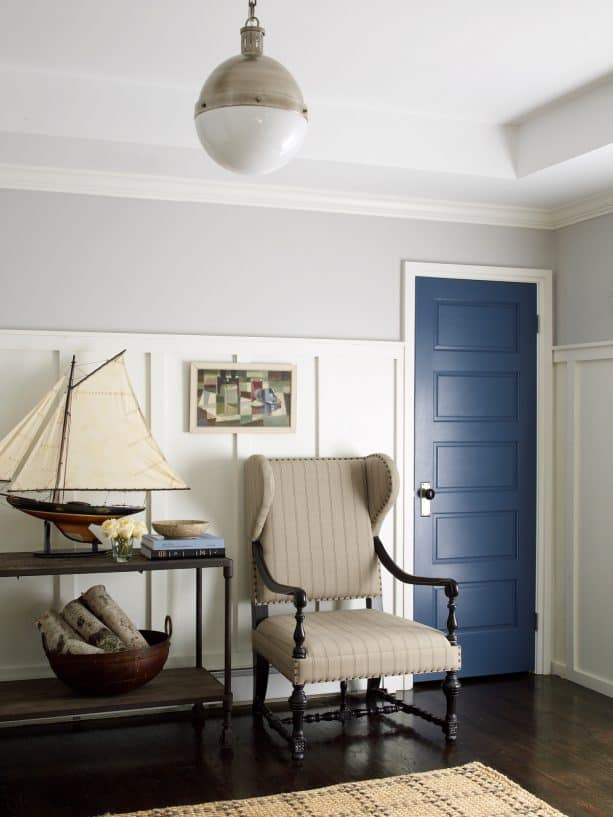 coastal black floor and a benjamin moore bayard dark blue front door