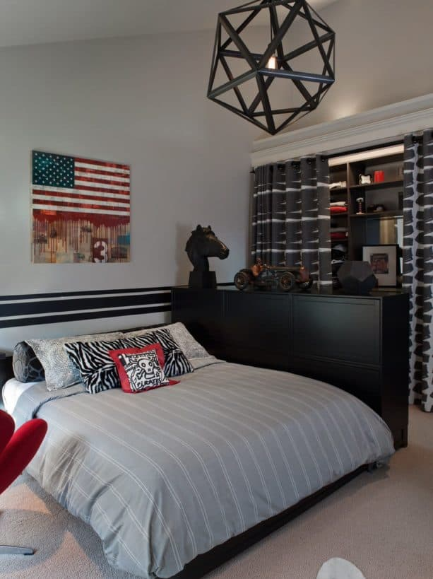 red, grey, and black boys' bedroom