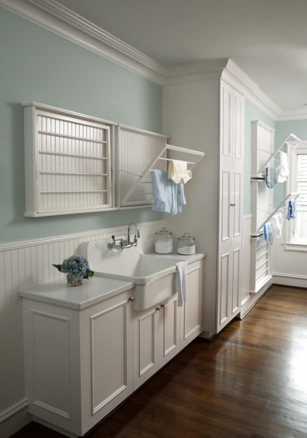 white and pale aqua laundry room