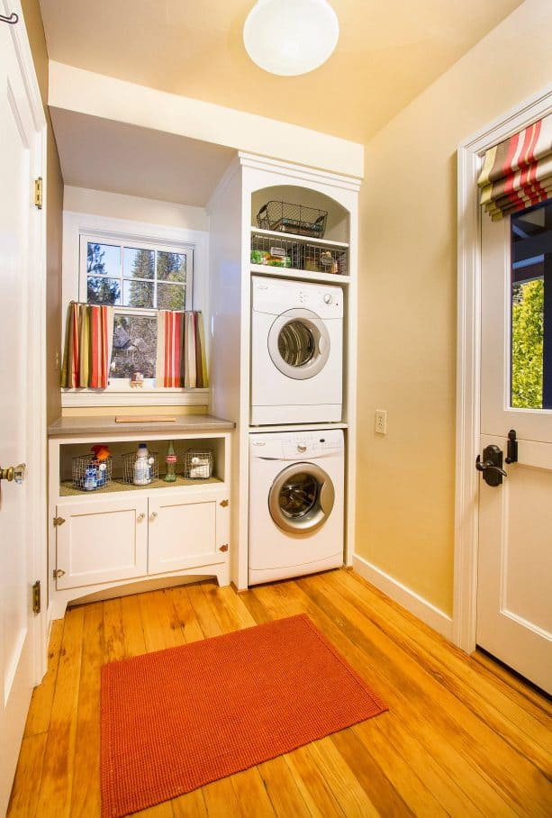 white and yellow laundry room
