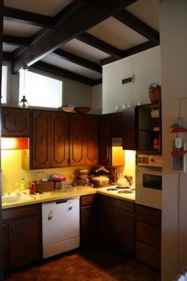 before remodel midcentury ranch kitchen with tall cabinets