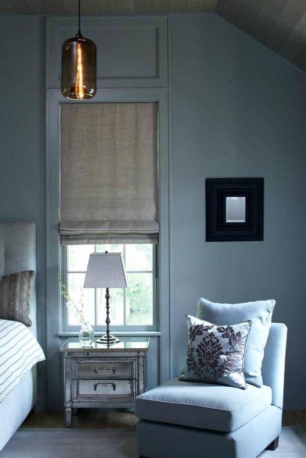 contemporary victorian bedroom with blue gray wall and trim paint color