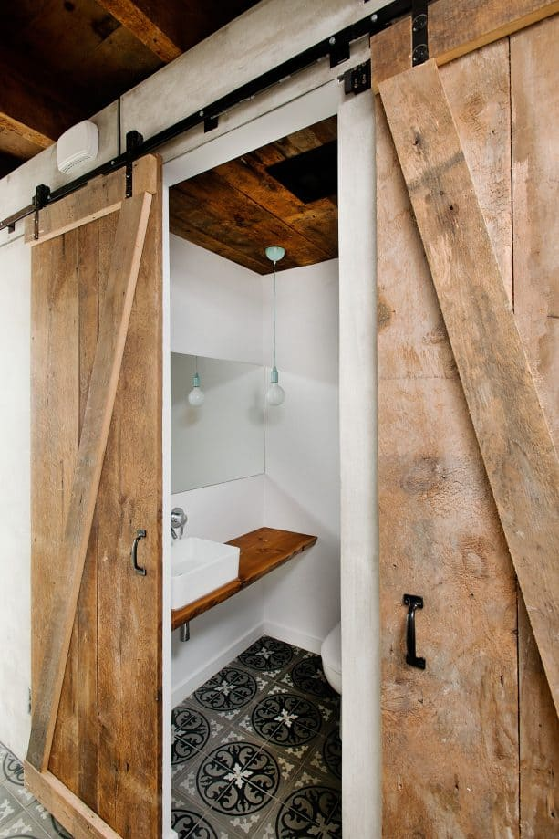 industrial sliding barn door with handles