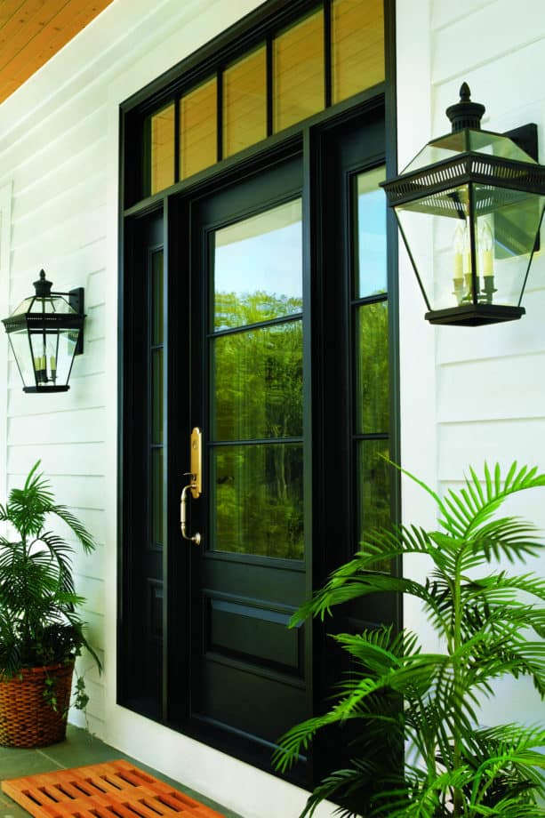 a bold black single front door with sidelights and transom by Andersen Windows and Doors