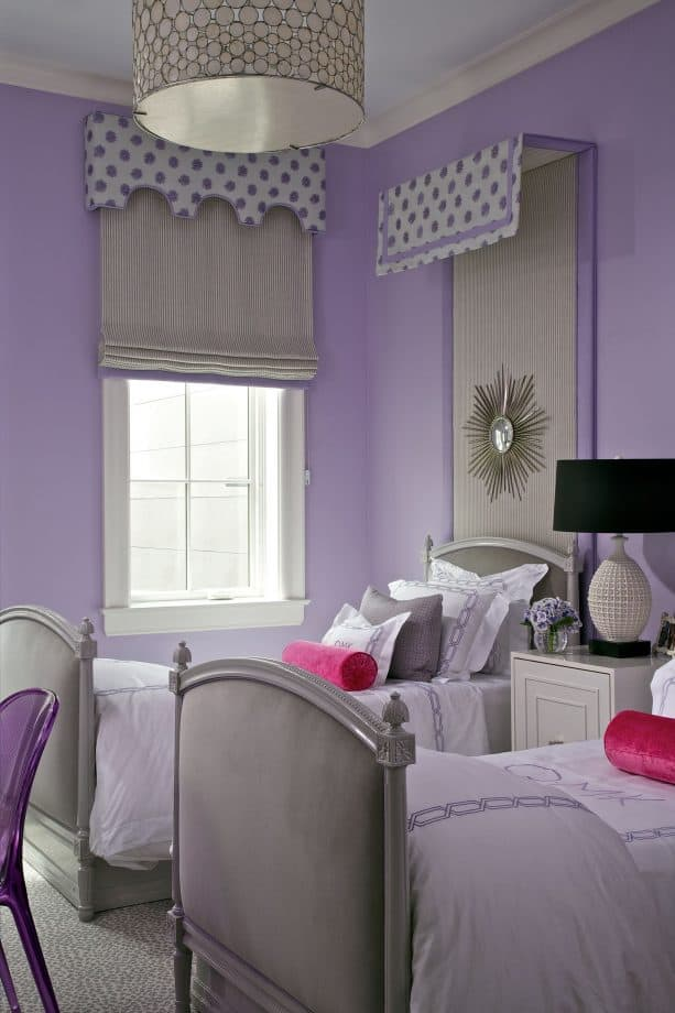 eclectic purple and grey bedroom for female teenagers