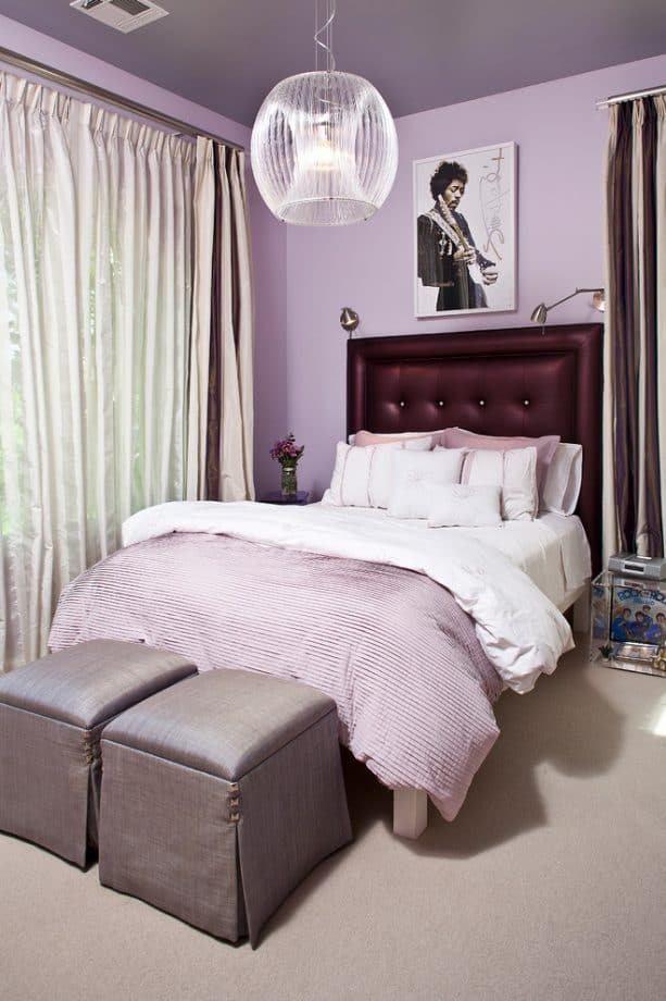 tufted upholstered headboard in a purple and grey bedroom