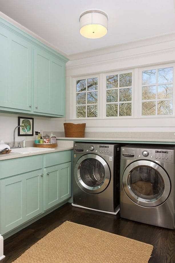 white and pastel blue laundry room